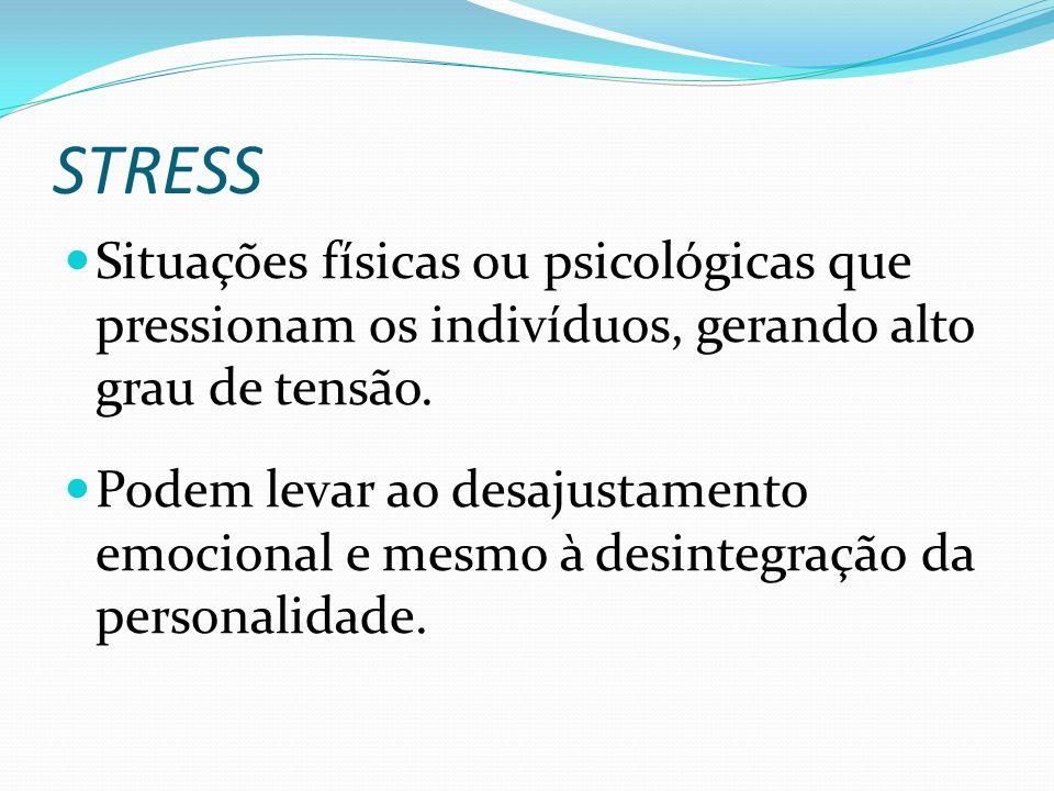 STRESS Situações físicas ou psicológicas que pressionam os indivíduos, gerando alto grau de tensão.