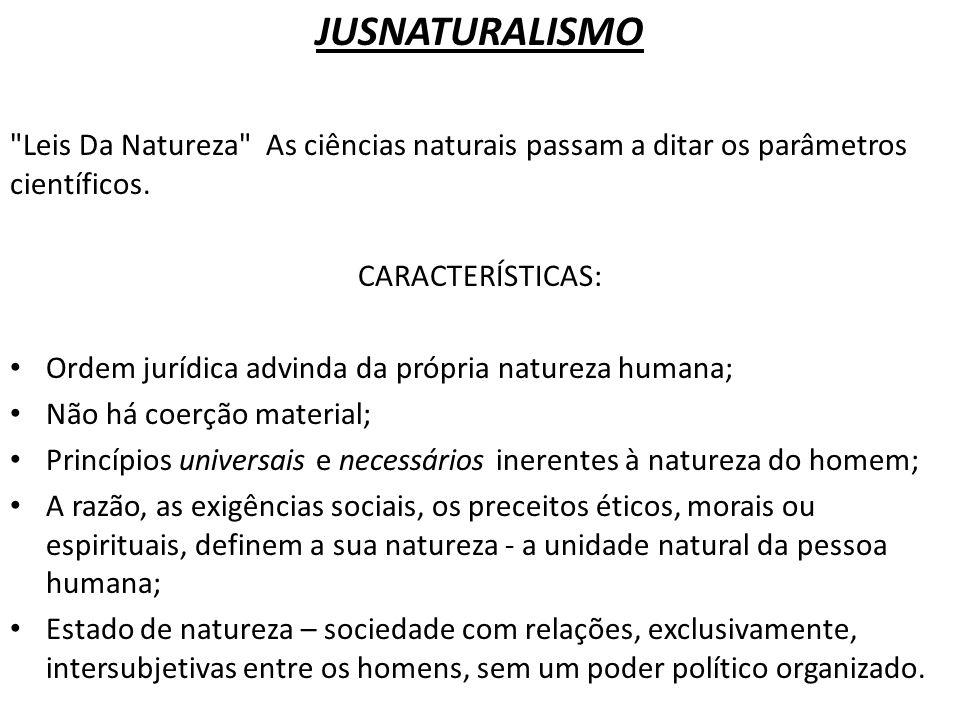 JUSNATURALISMO Leis Da Natureza As ciências naturais passam a ditar os parâmetros científicos. CARACTERÍSTICAS:
