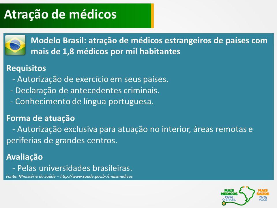 Atração de médicos Modelo Brasil: atração de médicos estrangeiros de países com mais de 1,8 médicos por mil habitantes.