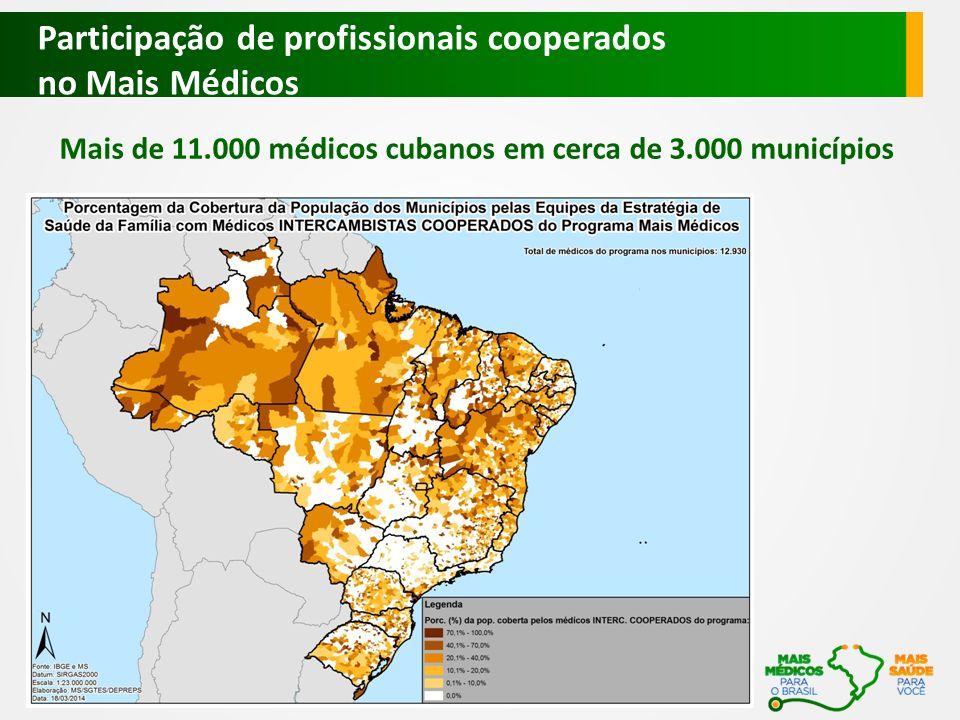 Mais de 11.000 médicos cubanos em cerca de 3.000 municípios