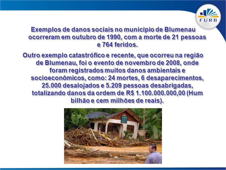 Exemplos de danos sociais no município de Blumenau ocorreram em outubro de 1990, com a morte de 21 pessoas e 764 feridos.