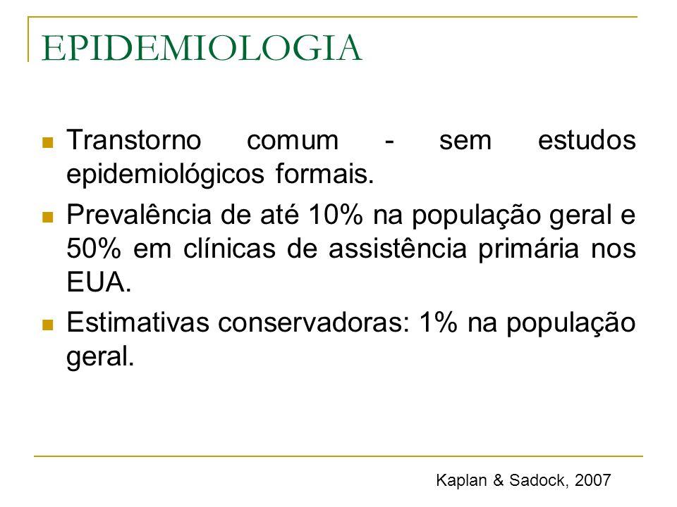 EPIDEMIOLOGIA Transtorno comum - sem estudos epidemiológicos formais.