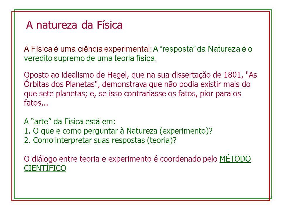 A natureza da Física A Física é uma ciência experimental: A resposta da Natureza é o veredito supremo de uma teoria física.