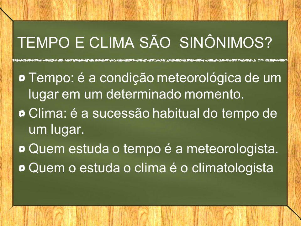 TEMPO E CLIMA SÃO SINÔNIMOS