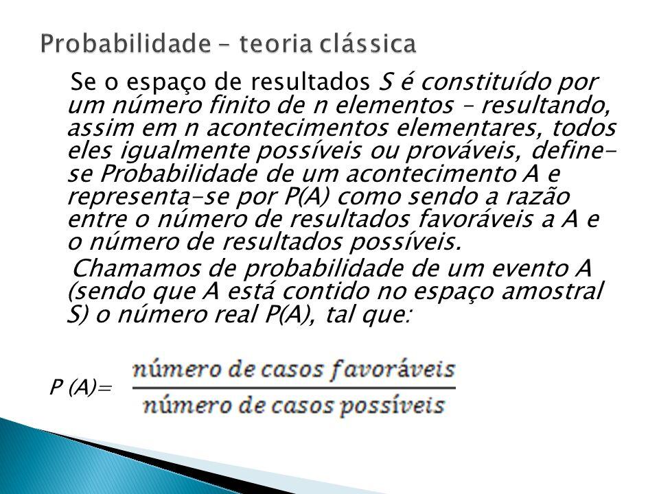 Probabilidade – teoria clássica