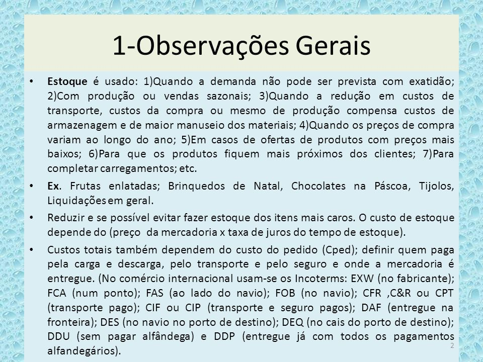 1-Observações Gerais