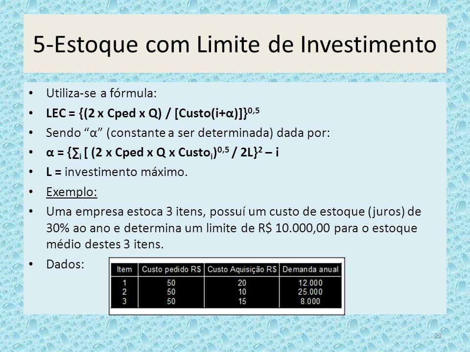 5-Estoque com Limite de Investimento