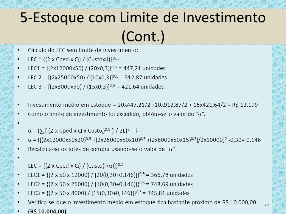 5-Estoque com Limite de Investimento (Cont.)