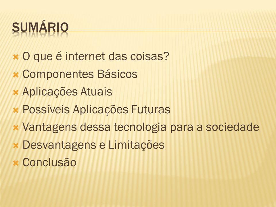 sumário O que é internet das coisas Componentes Básicos