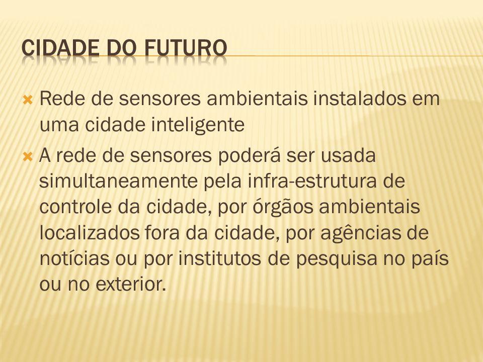 CIDADE DO FUTURO Rede de sensores ambientais instalados em uma cidade inteligente.