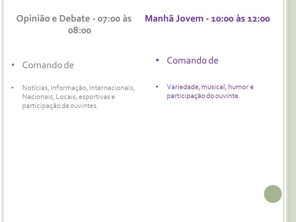 Opinião e Debate - 07:00 às 08:00 Manhã Jovem - 10:00 às 12:00