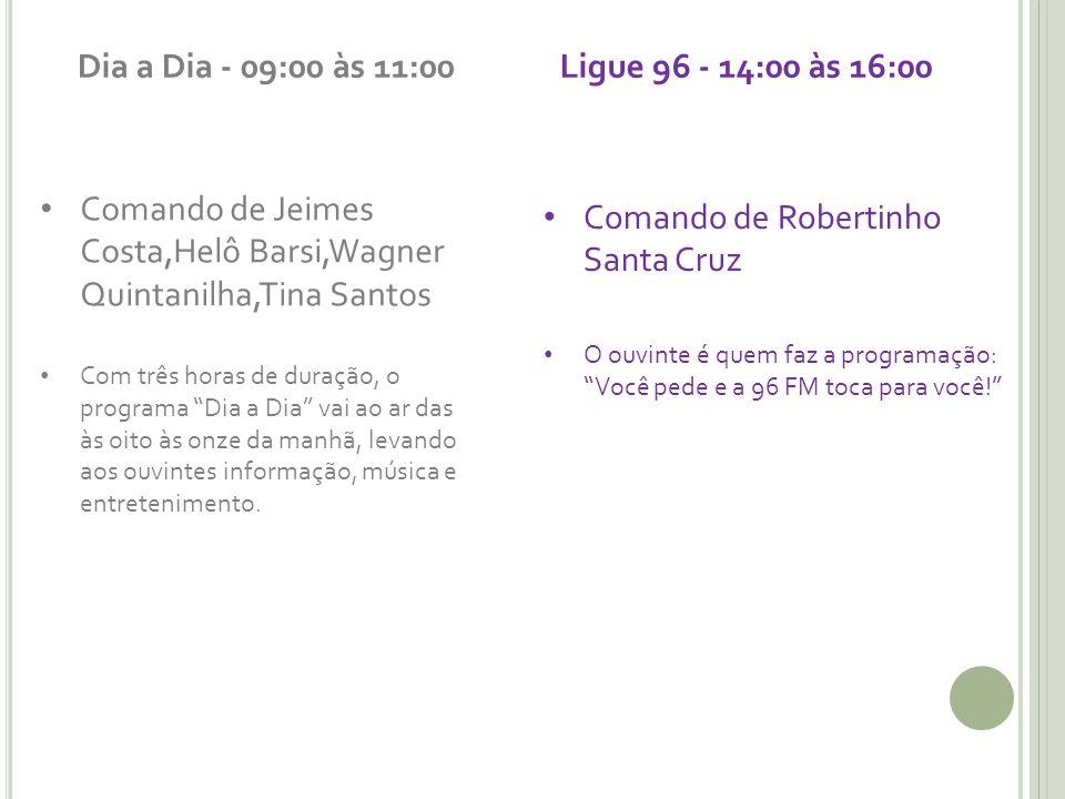 Dia a Dia - 09:00 às 11:00 Ligue 96 - 14:00 às 16:00
