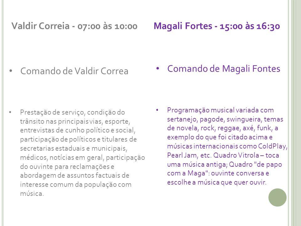 Comando de Magali Fontes Comando de Valdir Correa