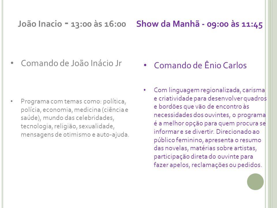 João Inacio - 13:00 às 16:00 Show da Manhã - 09:00 às 11:45