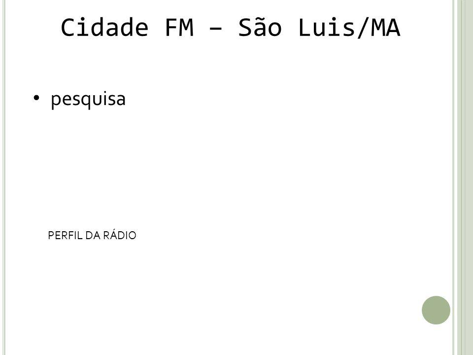 Cidade FM – São Luis/MA pesquisa PERFIL DA RÁDIO