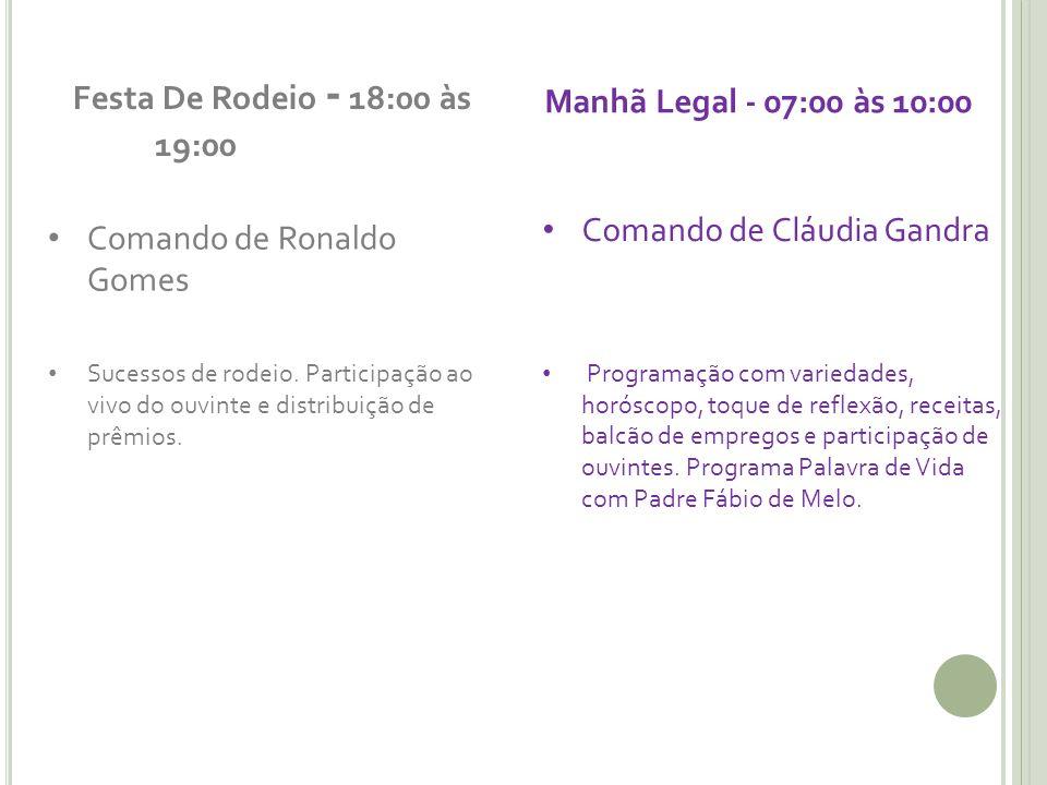 Festa De Rodeio - 18:00 às 19:00 Manhã Legal - 07:00 às 10:00