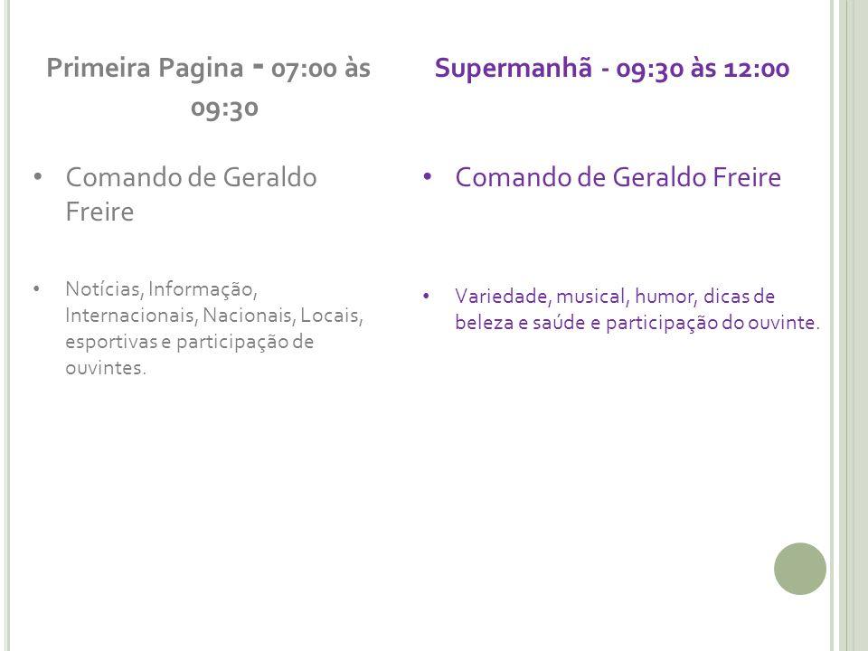 Primeira Pagina - 07:00 às 09:30 Supermanhã - 09:30 às 12:00