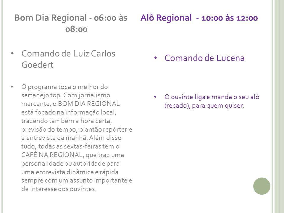 Bom Dia Regional - 06:00 às 08:00 Alô Regional - 10:00 às 12:00