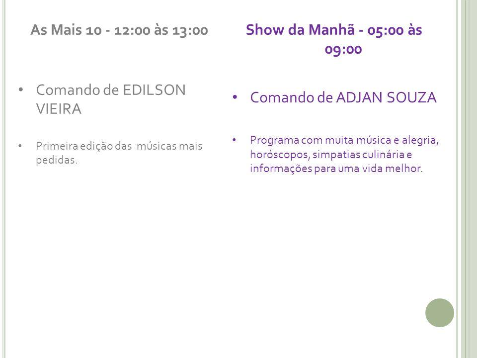As Mais 10 - 12:00 às 13:00 Show da Manhã - 05:00 às 09:00