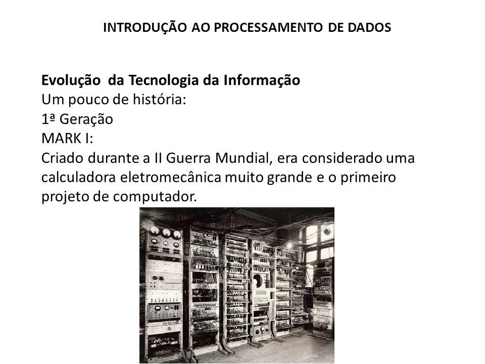 Evolução da Tecnologia da Informação Um pouco de história: 1ª Geração