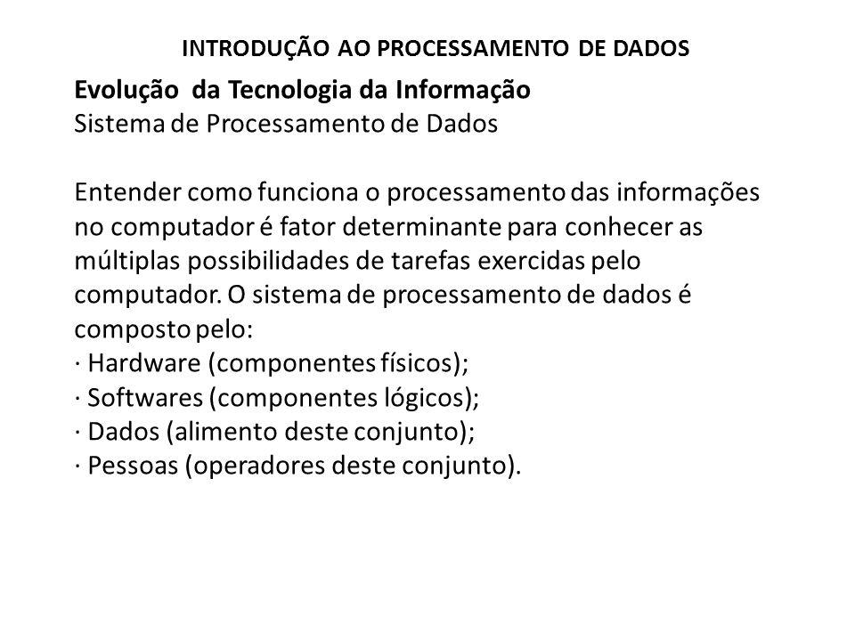 Evolução da Tecnologia da Informação Sistema de Processamento de Dados
