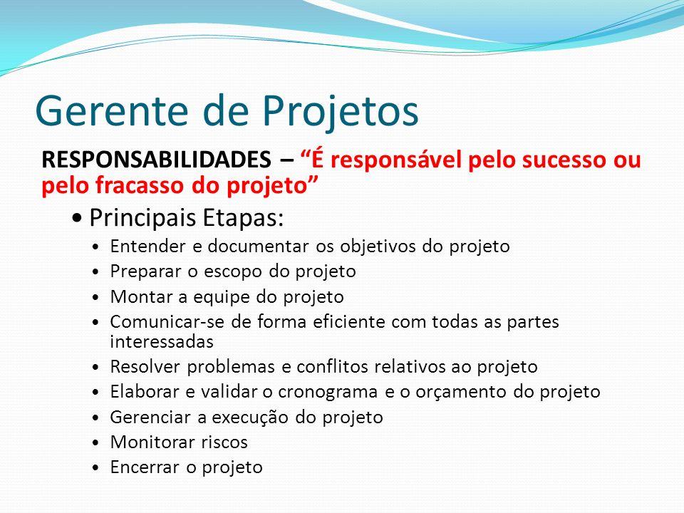 Gerente de Projetos Principais Etapas: