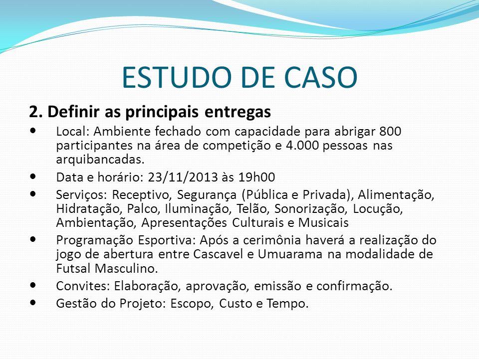 ESTUDO DE CASO 2. Definir as principais entregas