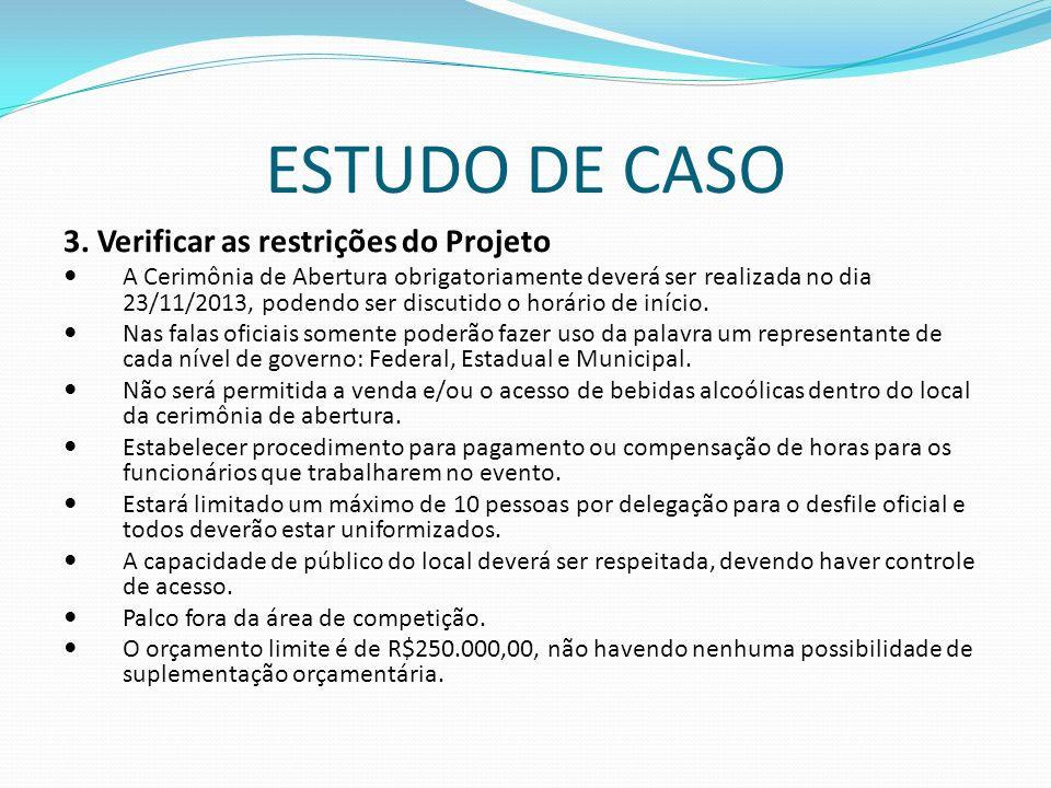 ESTUDO DE CASO 3. Verificar as restrições do Projeto