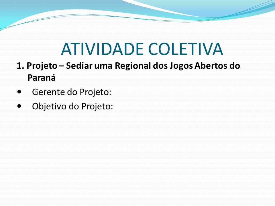 ATIVIDADE COLETIVA 1. Projeto – Sediar uma Regional dos Jogos Abertos do Paraná. Gerente do Projeto: