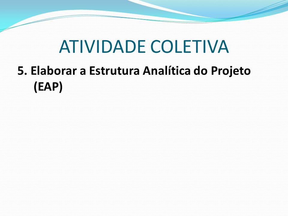 ATIVIDADE COLETIVA 5. Elaborar a Estrutura Analítica do Projeto (EAP)