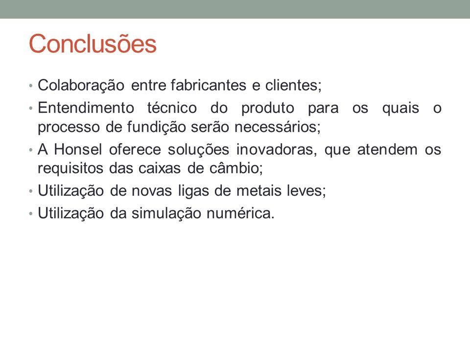 Conclusões Colaboração entre fabricantes e clientes;