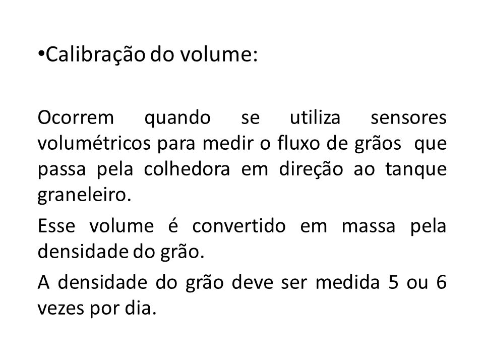 Calibração do volume:
