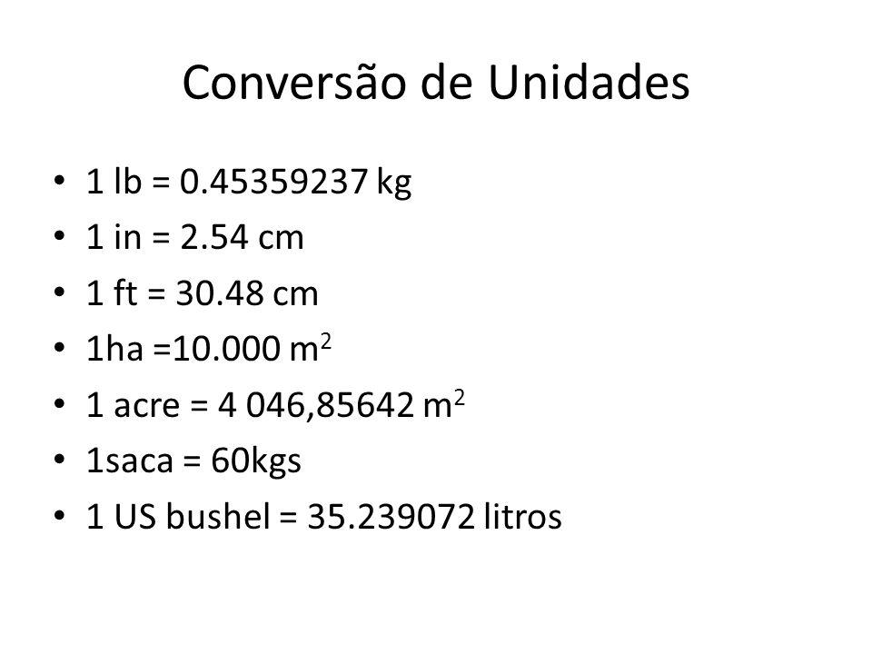 Conversão de Unidades 1 lb = 0.45359237 kg 1 in = 2.54 cm