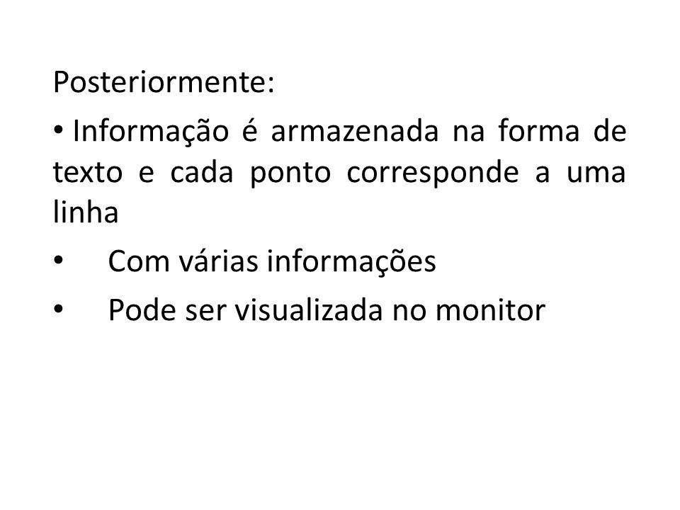 Posteriormente: Informação é armazenada na forma de texto e cada ponto corresponde a uma linha. Com várias informações.