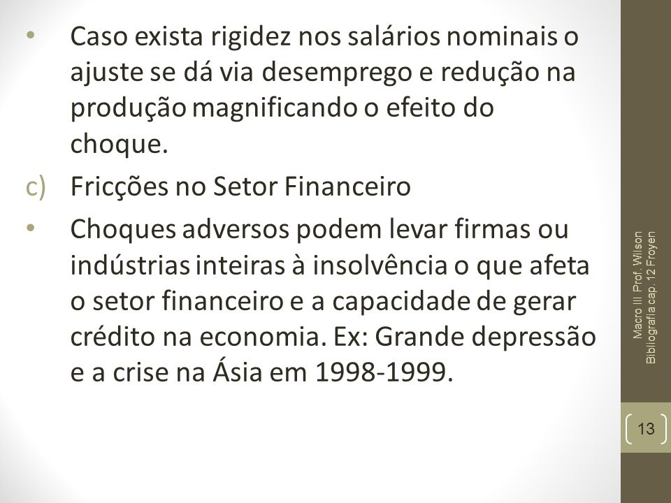 Fricções no Setor Financeiro