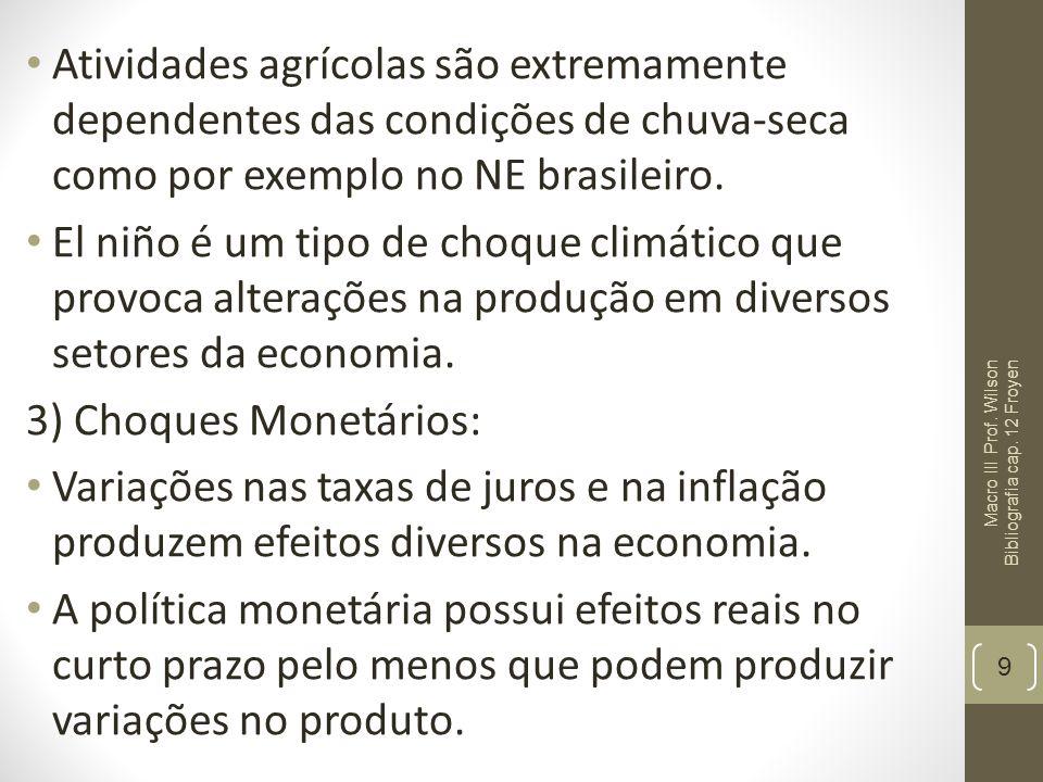 Atividades agrícolas são extremamente dependentes das condições de chuva-seca como por exemplo no NE brasileiro.