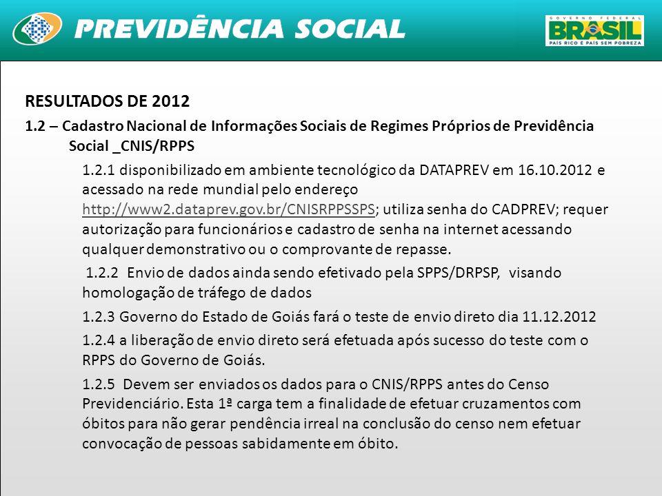 RESULTADOS DE 2012 1.2 – Cadastro Nacional de Informações Sociais de Regimes Próprios de Previdência Social _CNIS/RPPS.