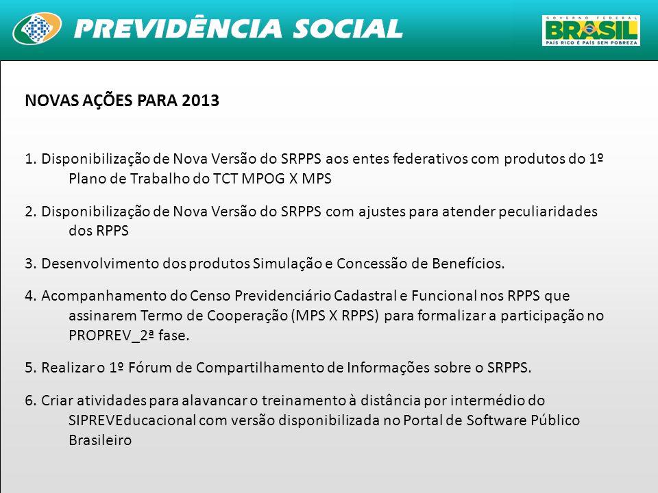NOVAS AÇÕES PARA 2013 1. Disponibilização de Nova Versão do SRPPS aos entes federativos com produtos do 1º Plano de Trabalho do TCT MPOG X MPS.