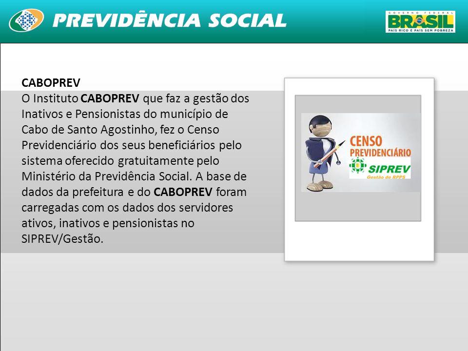 CABOPREV O Instituto CABOPREV que faz a gestão dos Inativos e Pensionistas do município de Cabo de Santo Agostinho, fez o Censo Previdenciário dos seus beneficiários pelo sistema oferecido gratuitamente pelo Ministério da Previdência Social.