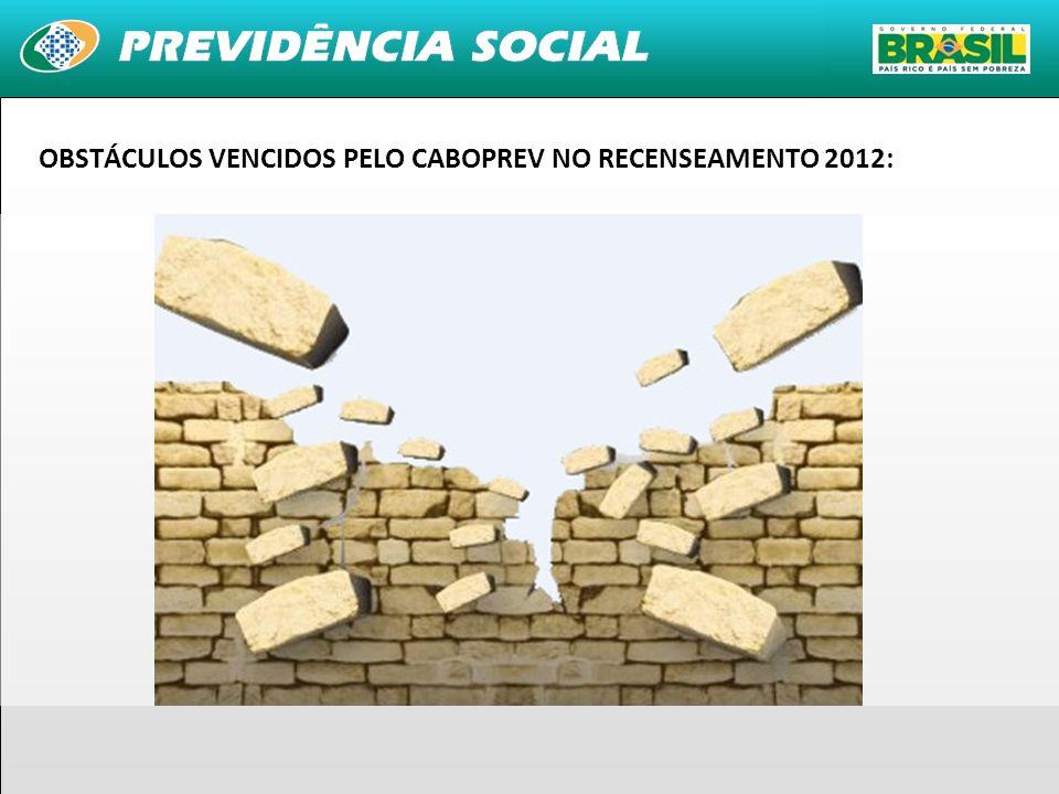 OBSTÁCULOS VENCIDOS PELO CABOPREV NO RECENSEAMENTO 2012: