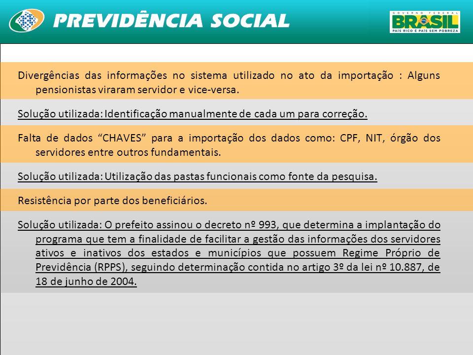 Divergências das informações no sistema utilizado no ato da importação : Alguns pensionistas viraram servidor e vice-versa.