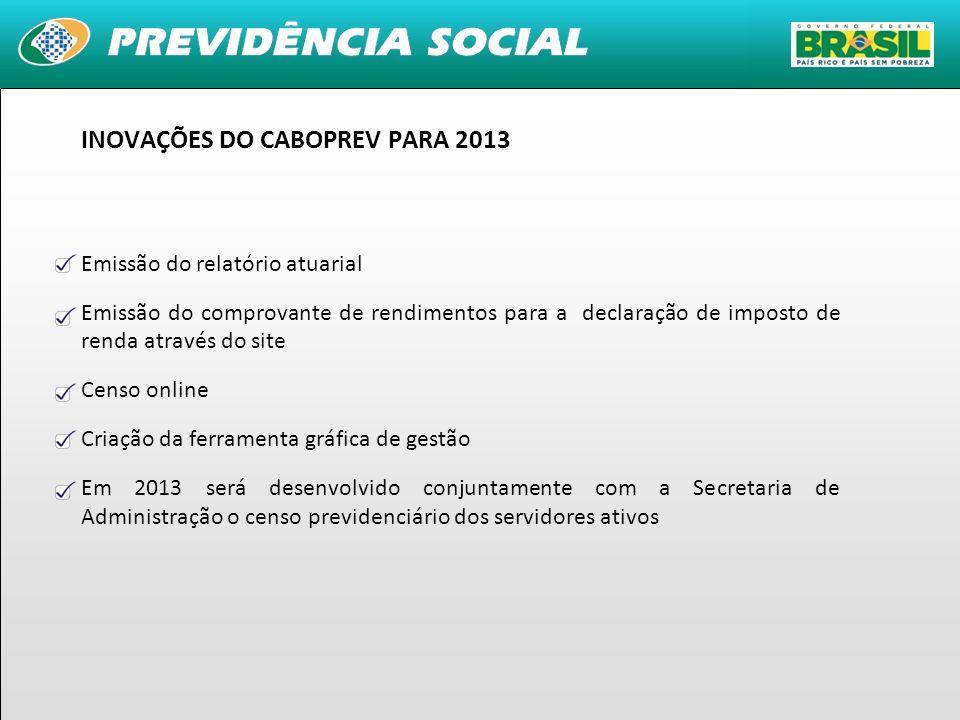 INOVAÇÕES DO CABOPREV PARA 2013
