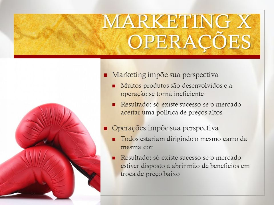 MARKETING X OPERAÇÕES Marketing impõe sua perspectiva