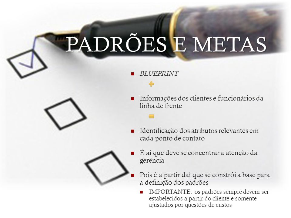 PADRÕES E METAS + = BLUEPRINT
