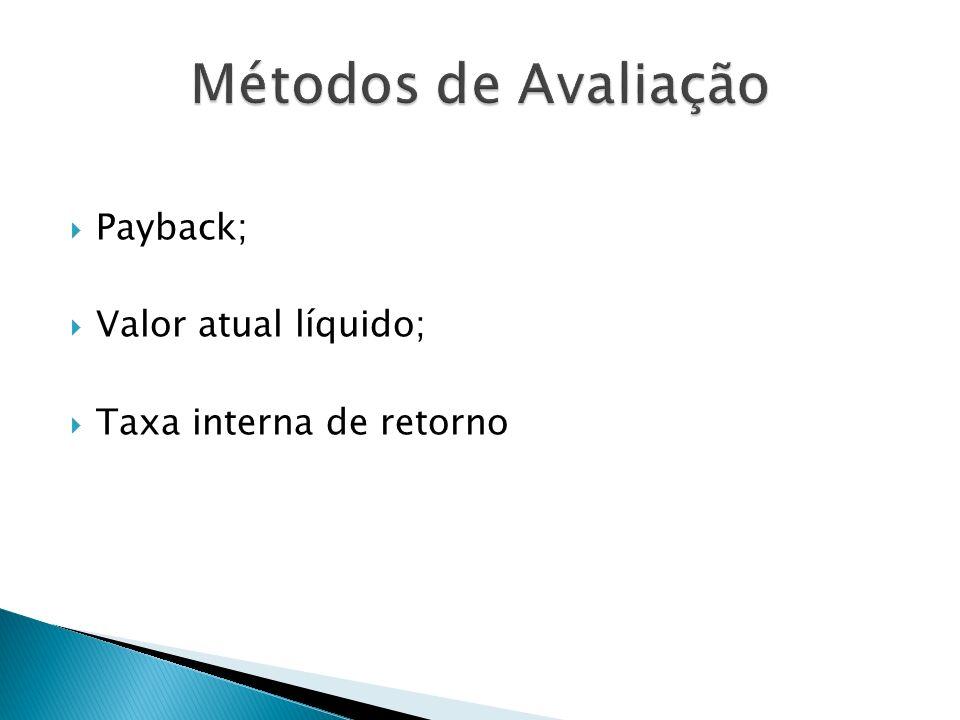 Métodos de Avaliação Payback; Valor atual líquido;