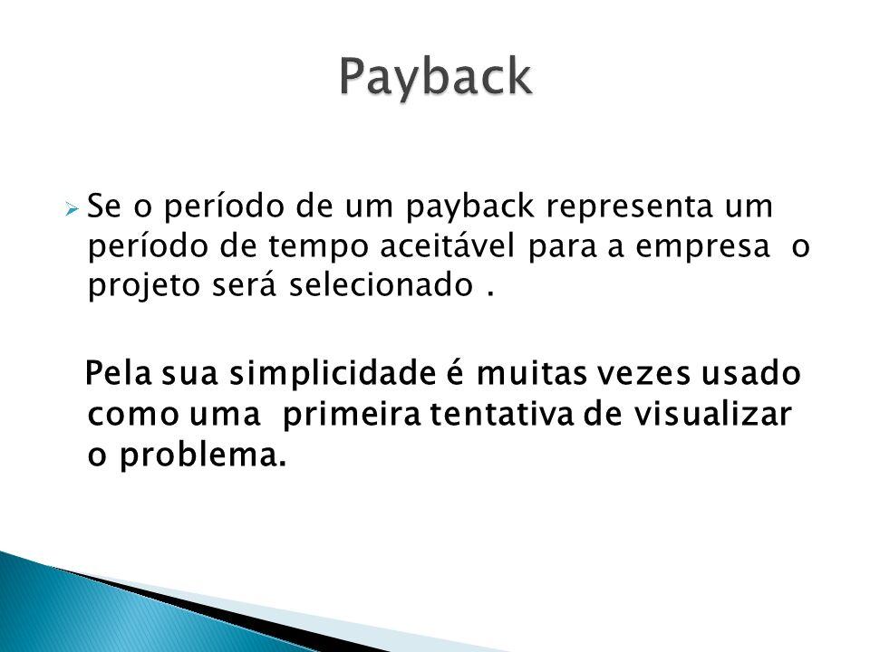Payback Se o período de um payback representa um período de tempo aceitável para a empresa o projeto será selecionado .