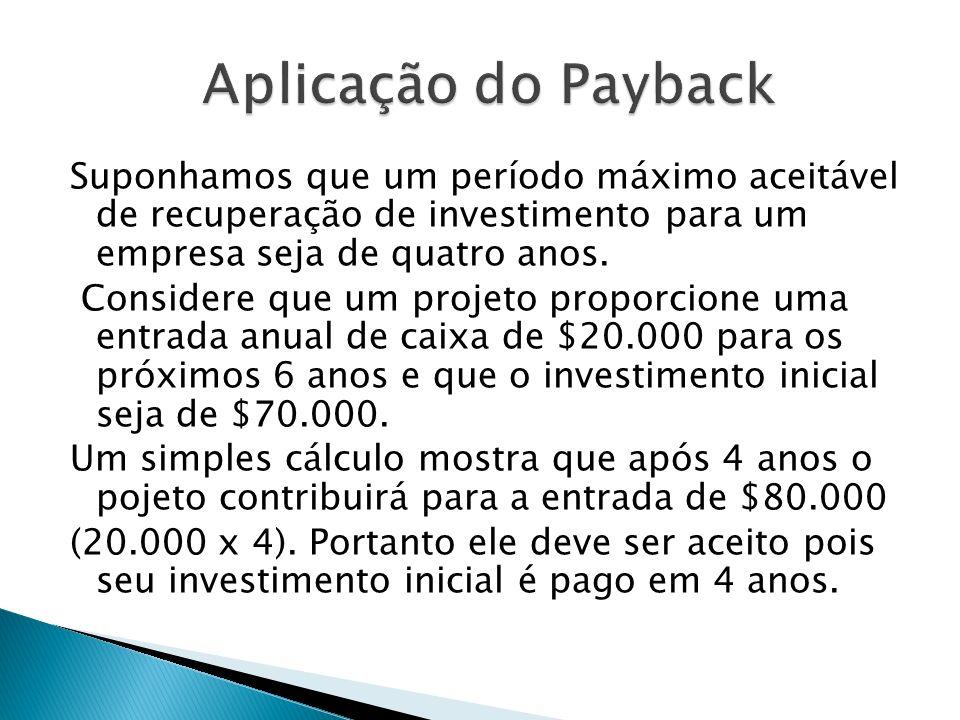 Aplicação do Payback