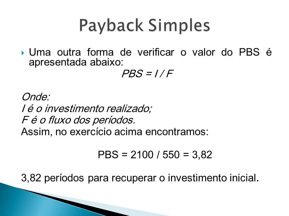 Payback Simples Uma outra forma de verificar o valor do PBS é apresentada abaixo: PBS = I / F. Onde: