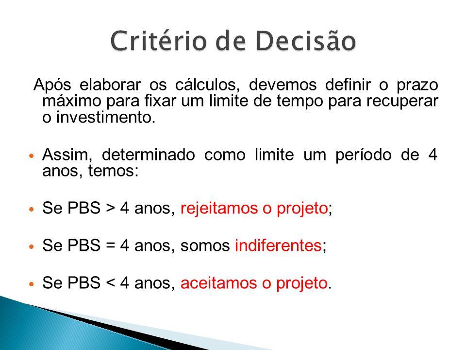 Critério de Decisão Após elaborar os cálculos, devemos definir o prazo máximo para fixar um limite de tempo para recuperar o investimento.