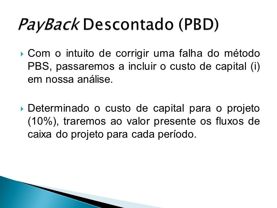 PayBack Descontado (PBD)